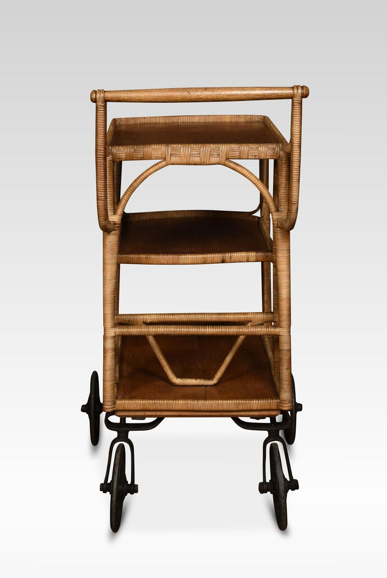 19th Century Rattan Cane and Oak Drinks Cart