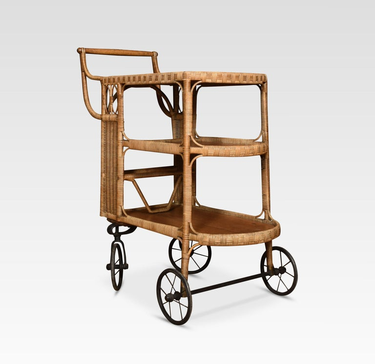 Rattan Cane and Oak Drinks Cart 2