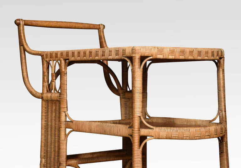 Rattan Cane and Oak Drinks Cart 3