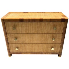 Rattan Cane and Wicker Chest of Drawers by Bielecky Brothers