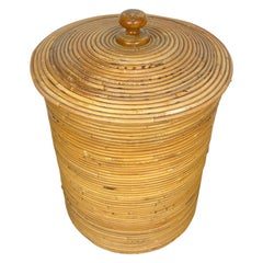 Rattan Cane Bamboo Basket, Italy, 1960s