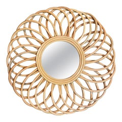 Rattan Cane or Bent Bamboo Round Starburst Flower Mirror after Bonacina