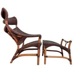 Rattan Chair and Foot Rest by Yuzru Yamakawa, Japan, 1980