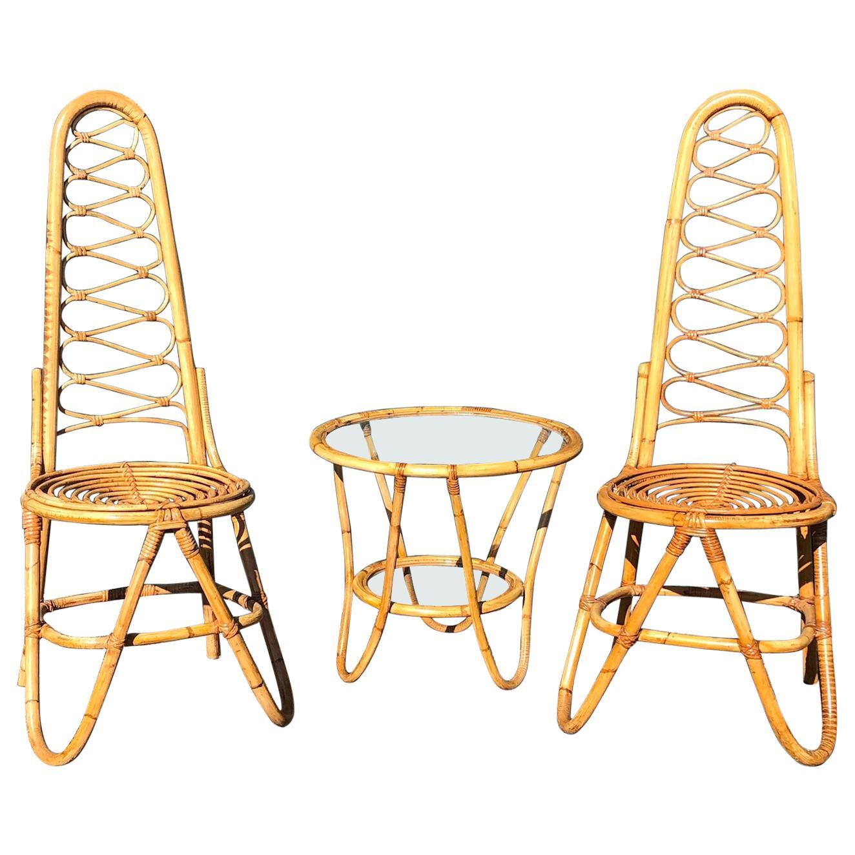 MCM Rattan Chairs and Table Set by Dirk Van Sliedrecht for Rohe Noordwolde, 1950
