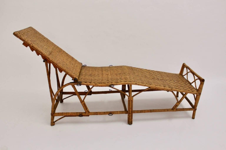rattan art deco chaise longue by perret vibert attributed france 1920s for sale - Chaise Deco