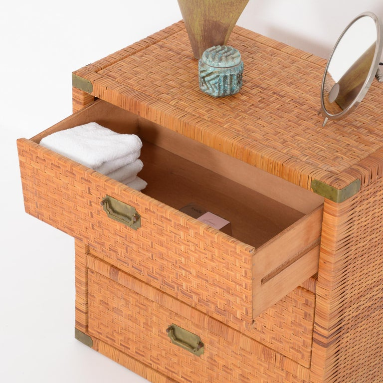 Mid-Century Modern Rattan Chest of Drawers For Sale