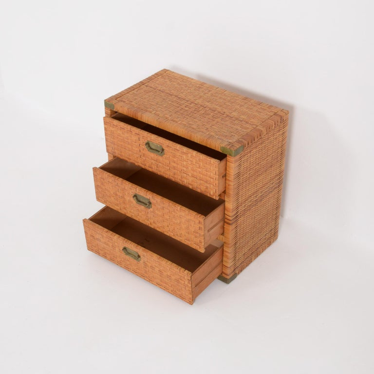 Belgian Rattan Chest of Drawers For Sale