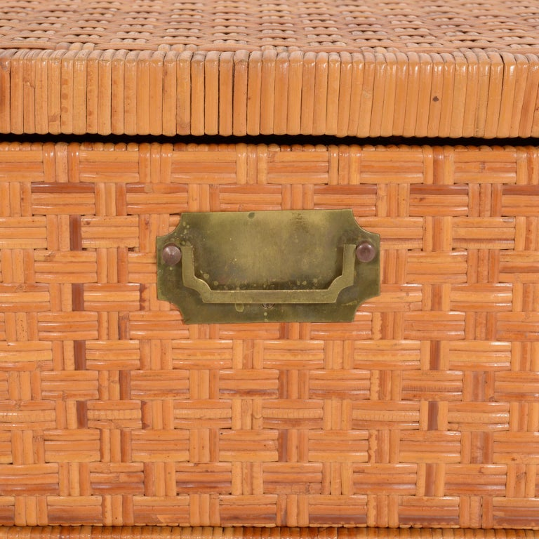 Copper Rattan Chest of Drawers For Sale