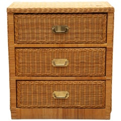 Rattan Chest of Drawers, Dresser Attributed to Audoux-Minet, France, 1970s