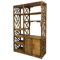 Rattan Chinoiserie Style Bookcase