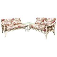 Rattan Chinoiserie Two-Piece Sectional Sofa