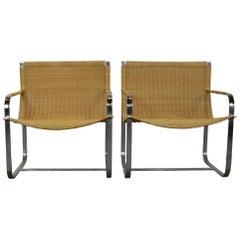 Rattan Chrome Lounge Chair by Milo Baughman