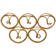 Rattan Coat Hook by Franco Albini & Franca Helg for Bonacina, Italy Bamboo 1960s