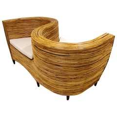 Rattan Conversation Chair by Vivai del Sud, 1980s