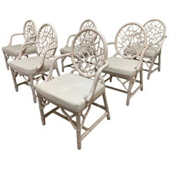 Rattan Cracked Ice Style Dining Chairs, Set of 6