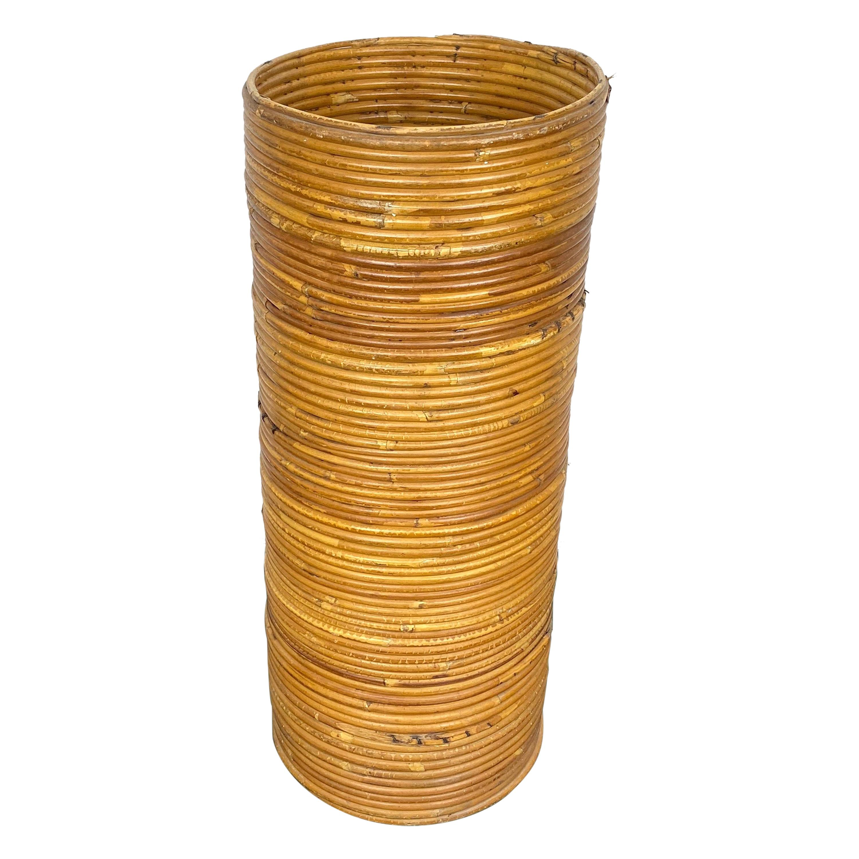 Rattan Cylindrical Umbrella Stand Basket, Italy, 1960s