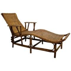 Rattan Deck Chair Patio Lounger, French, circa 1960