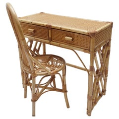 Rattan Desk/Vanity Table, Two Drawers with Matching Chair, France, 1970s