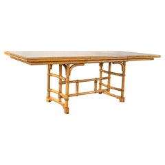 Rattan Dining Table with 2 Leaves & Off-White Laminate Top in the Style of Ficks