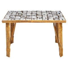 Rattan Dining Table with Hand-Painted Ceramic Tile Top, France, circa 1950
