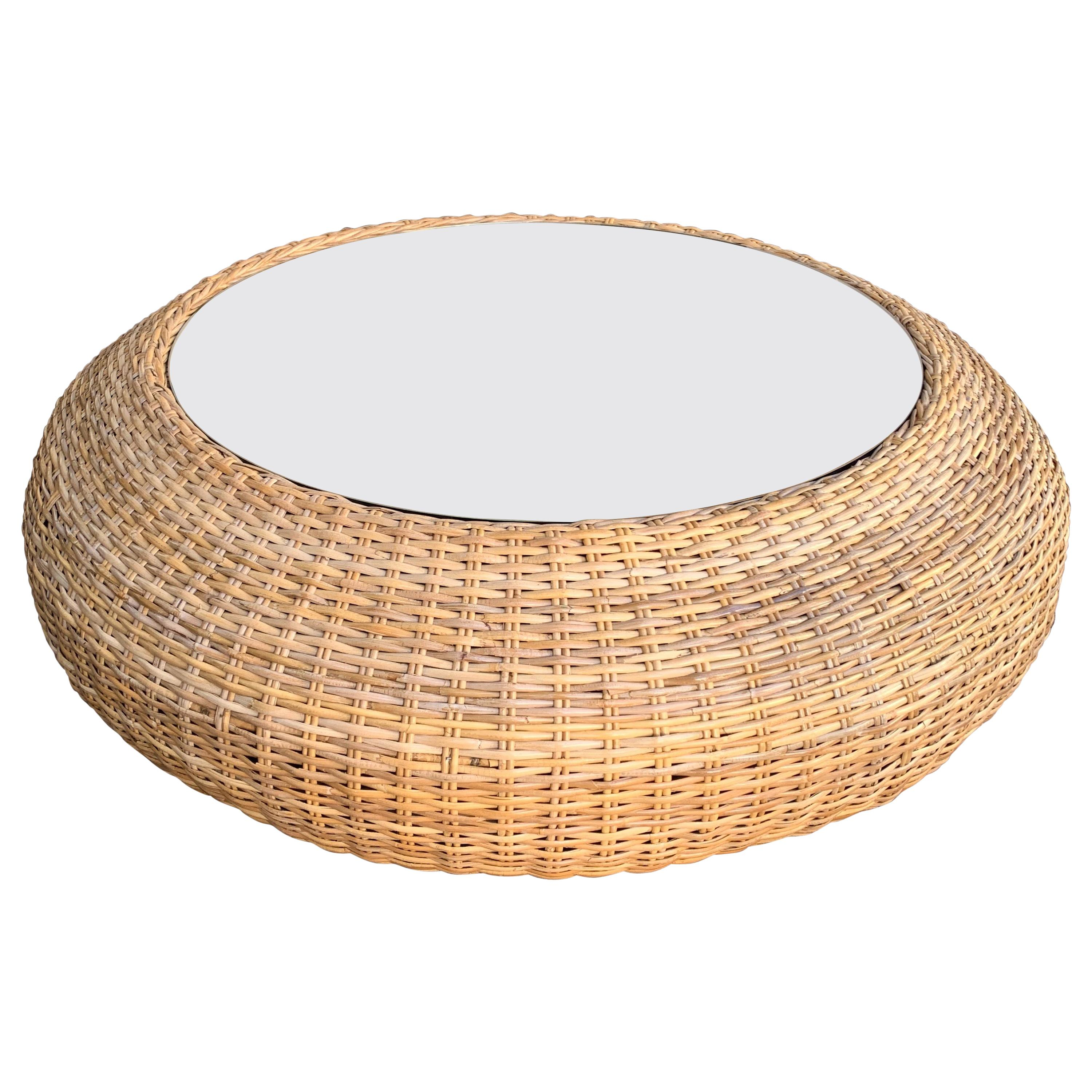 Rattan Donuts Coffee Cocktail Table, Italy, 1970s