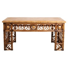Rattan Double Sided Console Table with Marble Top