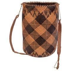 Rattan Drawstring Shoulder Bag Basket, Dayak of Borneo, Late 20th Century