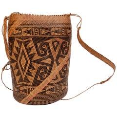 Rattan Drawstring Shoulder Bag Basket, Punan of Borneo, Late 20th Century