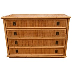 Rattan Dressers with Brass Campaign Style Hardware