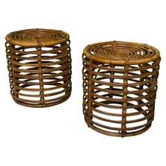 Rattan Drum End Tables or Footstools