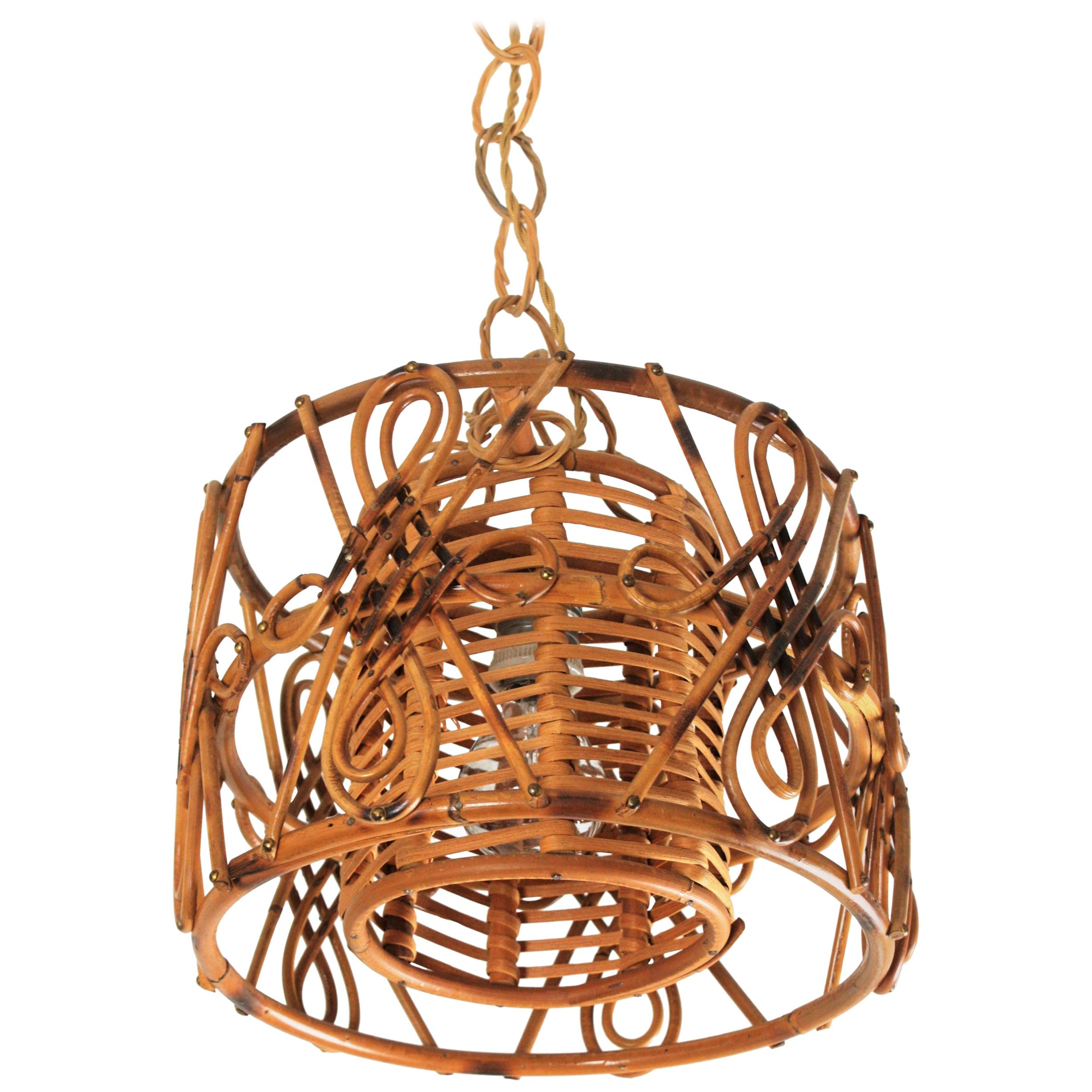 Rattan Drum Form Pendant Hanging Light with Chinoiserie Accents, France, 1950s