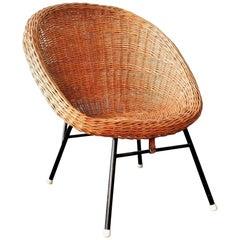 Rattan Easy Chair in Style of Dirk Van Sliedregt for Rohe Noordwolde, 1960s
