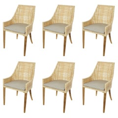 Rattan Effect Resin and Wooden Set of Six Outdoor Armchairs French Design
