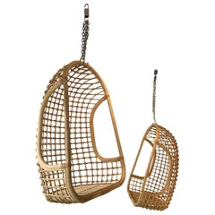 Rattan Egg Cage Armchair, Italy, 1980s