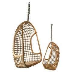 Rattan Egg Cage Armchairs by Bonacina, Italy