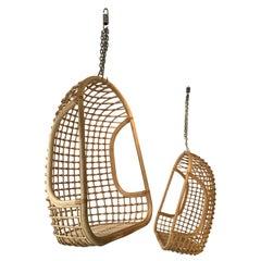 Rattan Egg Cage Armchair by Bonacina, Italy