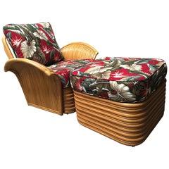 "Art Deco Style ""Hawaii"" Rattan Fan Arm Lounge Chair with Ottoman Set"