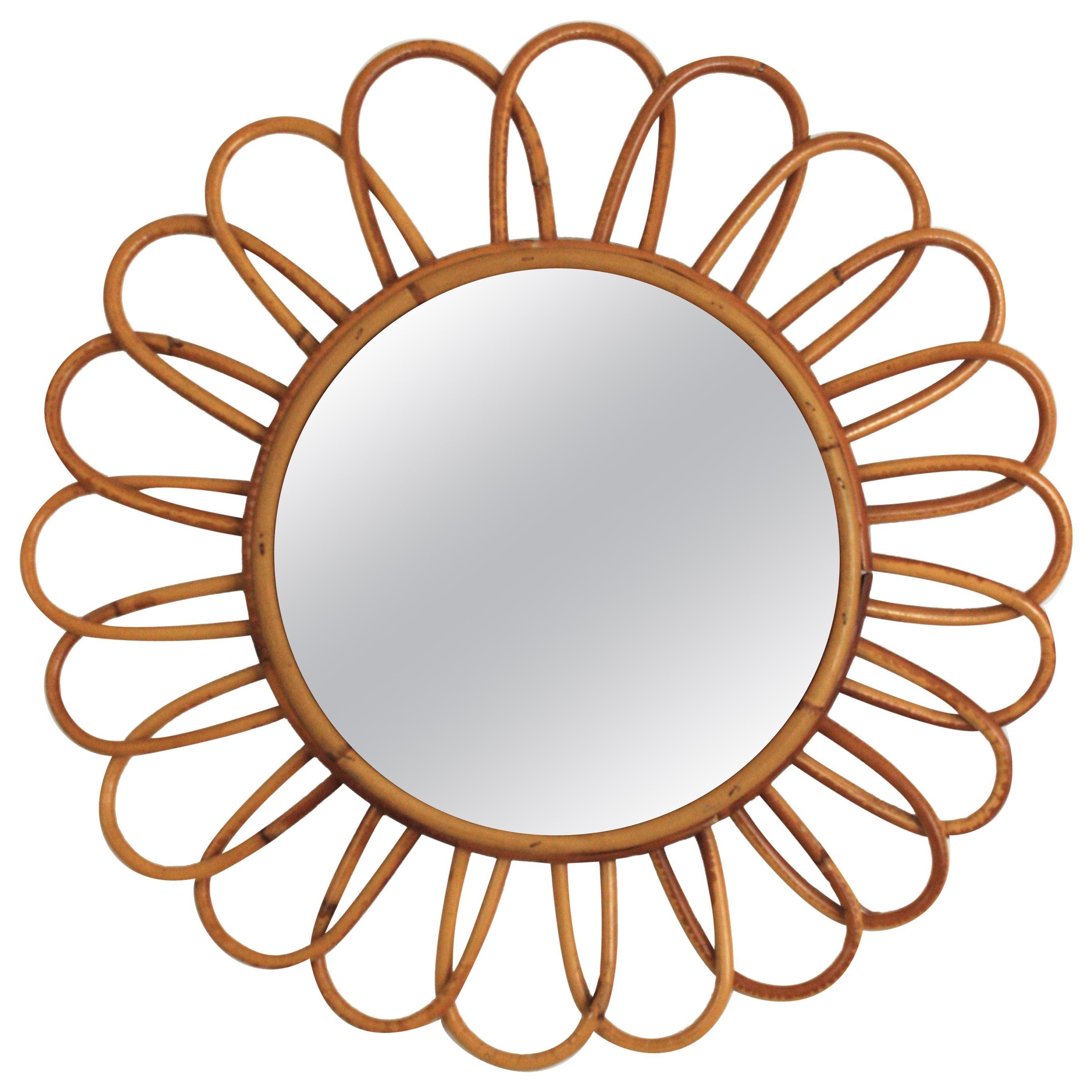 Rattan Flower Burst Mirror, Midcentury Mediterranean Design, 1960s