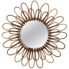 Rattan Flower Shaped Mirror, 1960s