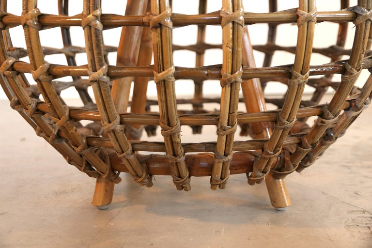 Mid-Century Modern Rattan Foot Stool Hocker Ottoman, Pouf or Side Table Attributed to Franco Albini For Sale