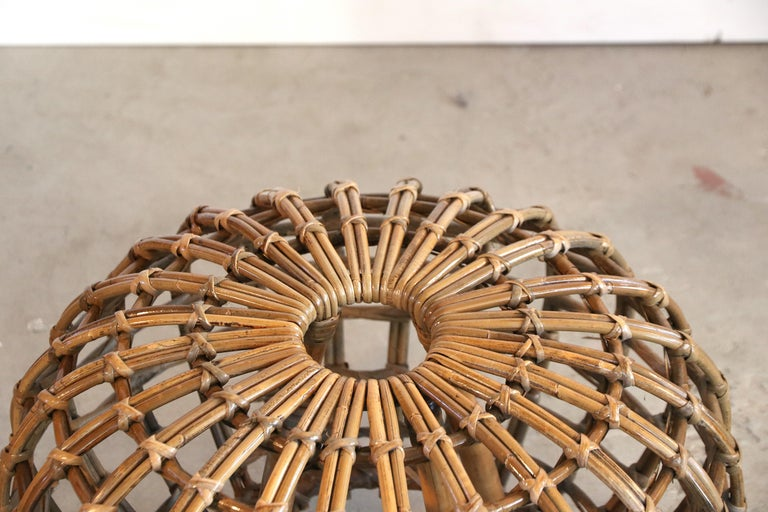 Italian Rattan Foot Stool Hocker Ottoman, Pouf or Side Table Attributed to Franco Albini For Sale