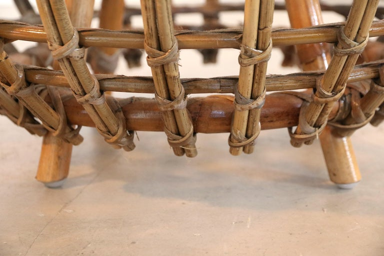Mid-20th Century Rattan Foot Stool Hocker Ottoman, Pouf or Side Table Attributed to Franco Albini For Sale