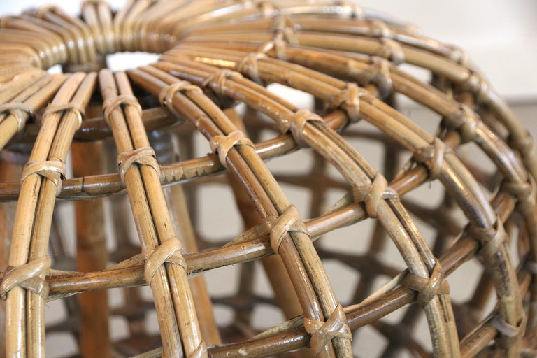 Bamboo Rattan Foot Stool Hocker Ottoman, Pouf or Side Table Attributed to Franco Albini For Sale