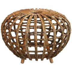Rattan Foot Stool Hocker Ottoman, Pouf or Side Table Attributed to Franco Albini