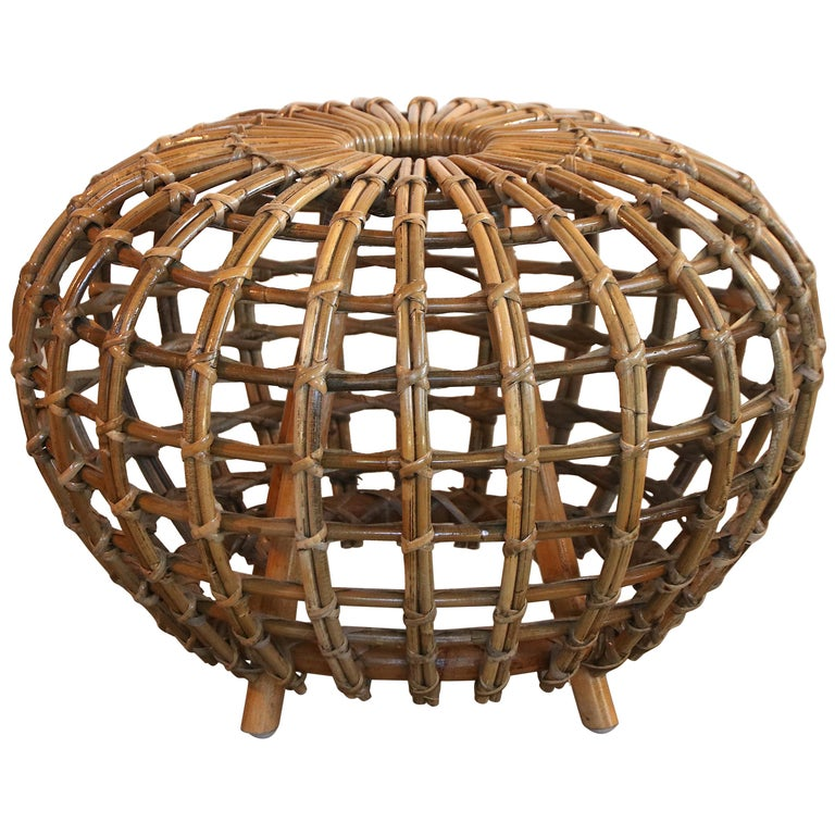 Rattan Foot Stool Hocker Ottoman, Pouf or Side Table Attributed to Franco Albini For Sale