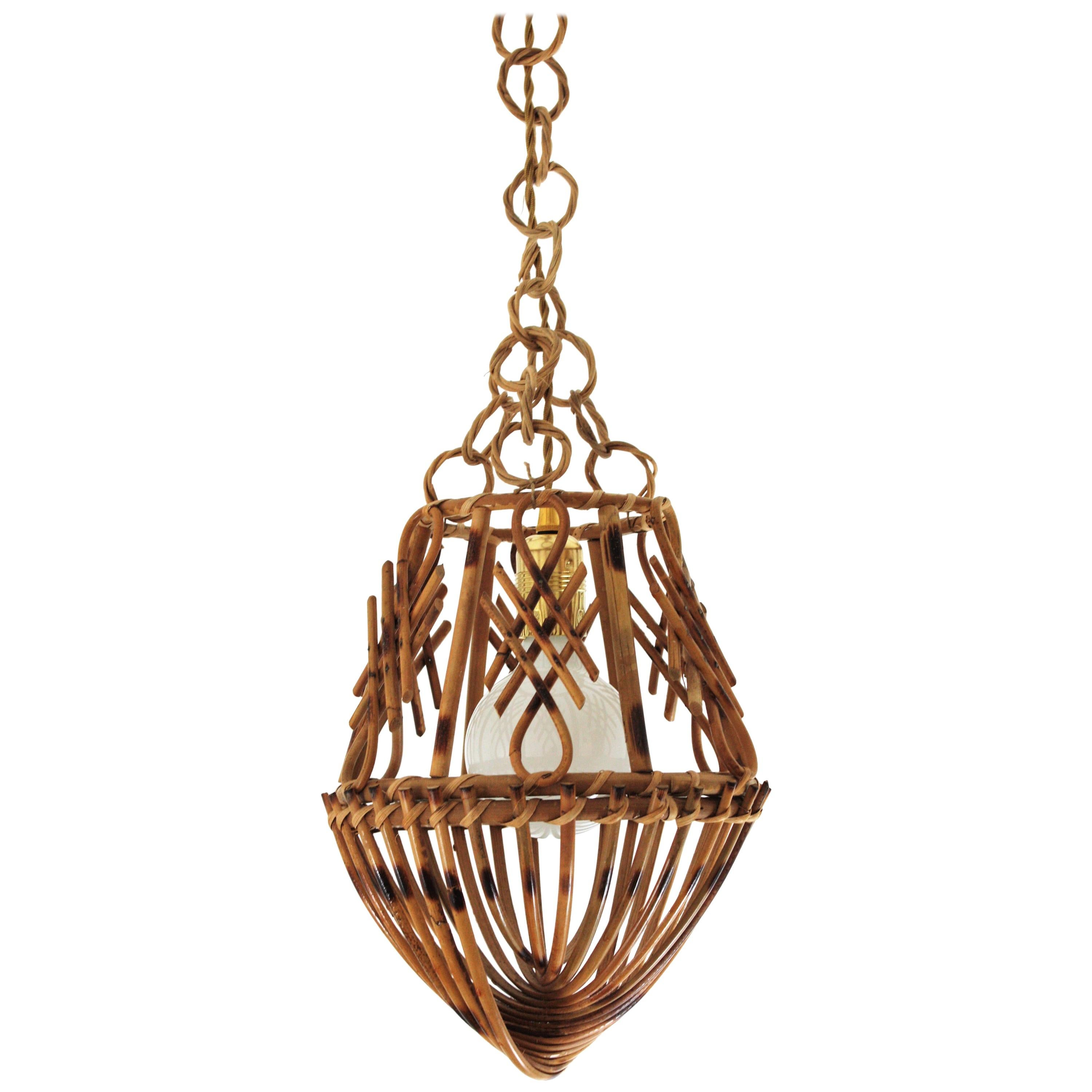 Rattan French Modernist Pendant Lamp or Lantern with Chinoiserie Accents