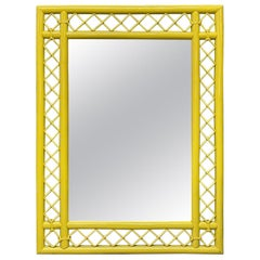 Rattan Fretwork Wall Mirror in Yellow Lacquer