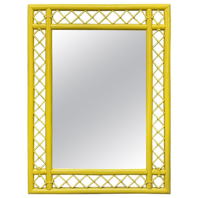 Rattan Fretwork Wall Mirror in Yellow Lacquer For Sale