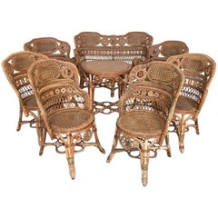 Rattan Garden Furniture Set by Maison Perret Vibert, Second Half of 19th Century