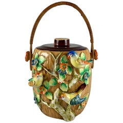 Rattan Handled Bird in Blossom Branch Japanese Pottery Biscuit Barrel, 1920s
